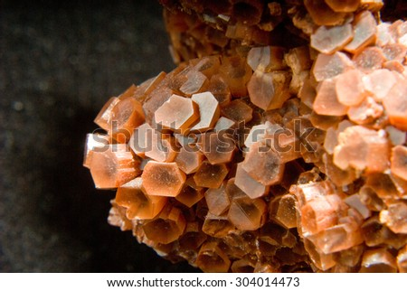 some bright orange colored Spanish aragonite - stock photo