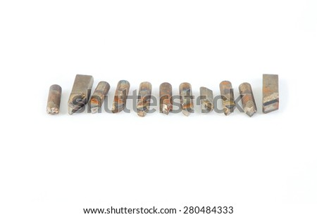 Some Carbide Tipped Tool Bits isolated on white background - stock photo