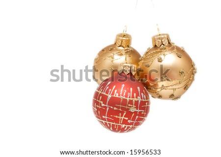 Some christmas balls isolated - stock photo