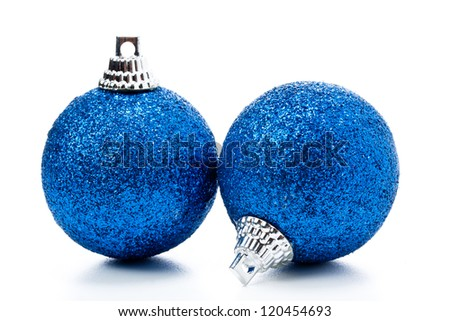 some christmas balls on a white background - stock photo