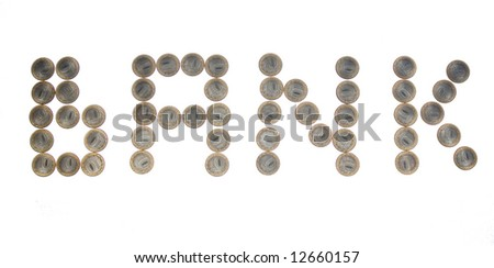 """Some coins as word """"bank"""". Russian currency - stock photo"""