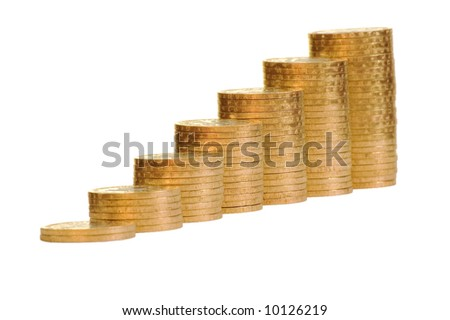 Some coins symbolize growth. Isolate on white - stock photo