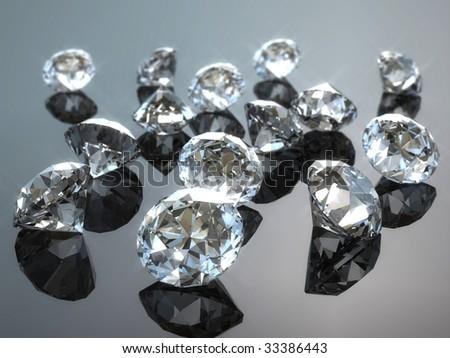 Some diamond on a table - stock photo