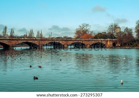 some ducks swim in the Serpentine River, with the Serpentine Bridge in the background, in Hyde Park in London, United Kingdom - stock photo