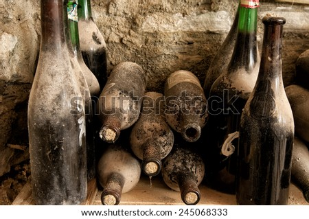 Some dusty and very old wine bottles found in an old abandoned cellar in northern Italy. - stock photo