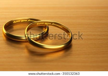 Some focus on love forever ring 3d rendering. - stock photo