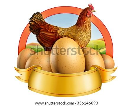 Some fresh eggs and an hen. Digital illustration. - stock photo