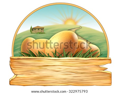 Some fresh eggs behind a wood sign. Digital illustration. - stock photo