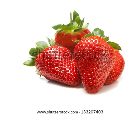 Some fresh strawberry isolated on white background - stock photo