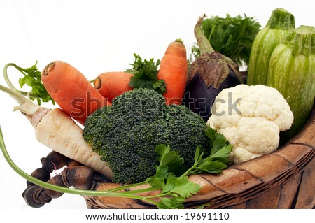 Some fresh vegetable in the basket - stock photo