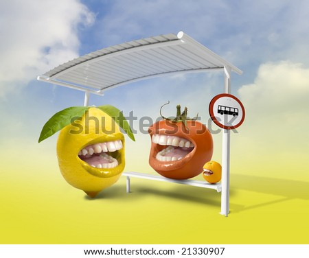 some fruits laughing together at a bus stop - stock photo