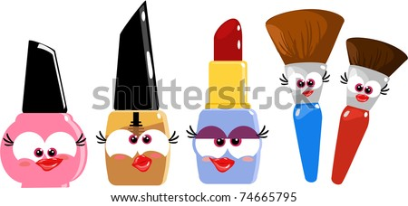 Some funny cartoon makeup objects - stock photo