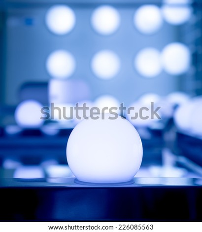 some LED lamps blue  lights science and technology background - stock photo