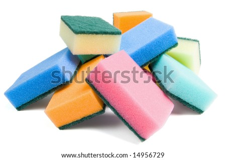 Some multicolored kitchen sponges for washing dishes - stock photo