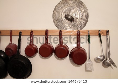 some old and vintage kitchen utensils - stock photo
