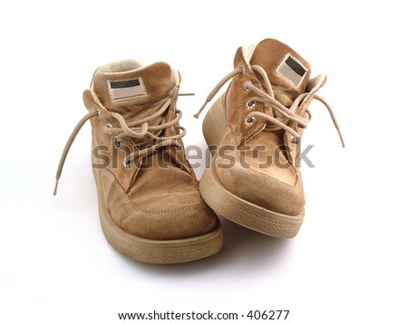 some old workers shoes - stock photo