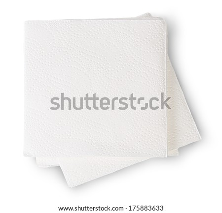 Some Paper Napkins Isolated On White Background - stock photo