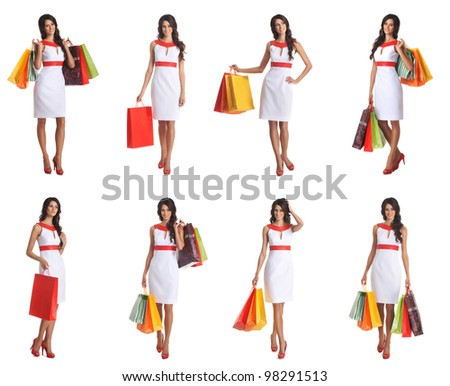 Some photos of young attractive woman with shopping bags - stock photo