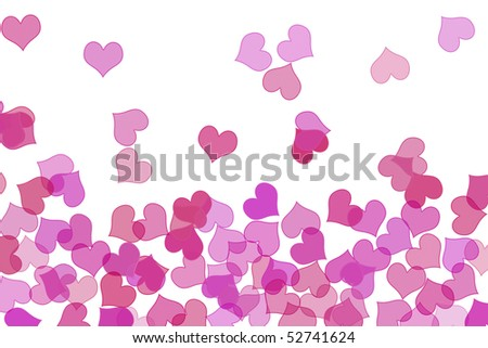 some pink hearts drawn on a white background - stock photo