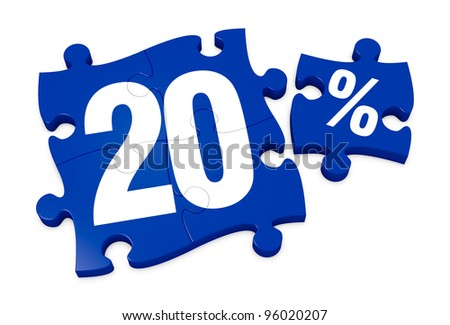 some puzzle pieces with the number 20 and the percent symbol (3d render) - stock photo