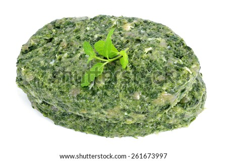 some raw veggie burgers on a white background - stock photo