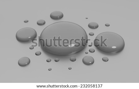 some rendered water drops in grey back - stock photo