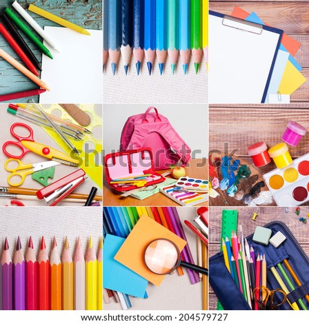 some school and office supplies collection  - stock photo