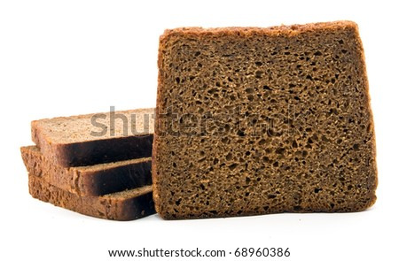 some slices of rye bread over white - stock photo