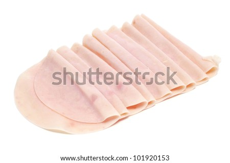 some slices of turkey ham on a white background - stock photo