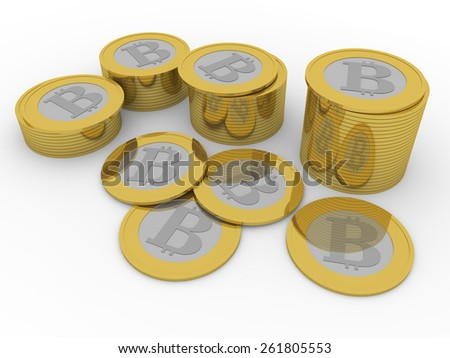 some stacks of shiny bitcoins. New virtual money for internet trading and business - stock photo