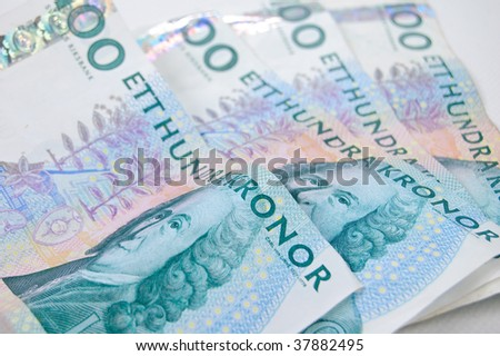 Some swedish money on an isolated white background - stock photo