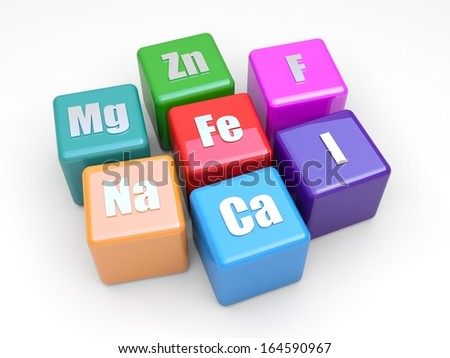 Some symbols mineral on colored cubes - stock photo