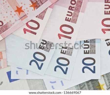 some ten and twenty euro notes - stock photo