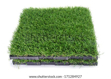 some tiles of artificial turf on a white background - stock photo