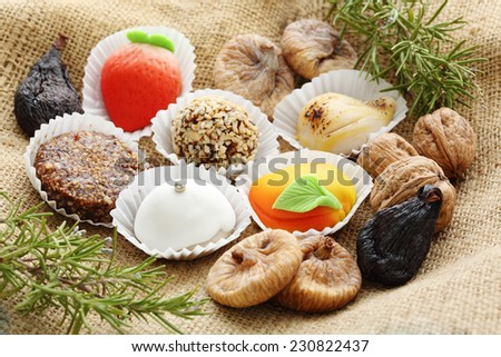 Some traditional christmas portuguese cakes with figs, nuts and eggs - stock photo
