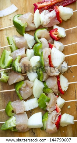 Some vegetables on a brochette. - stock photo