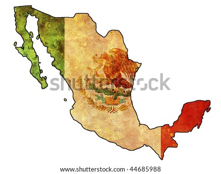 some very old grunge flag of mexico - stock photo