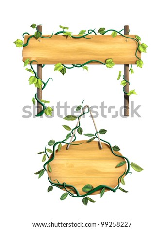 Some wood signs framed by leafy vines. Digital illustration. - stock photo