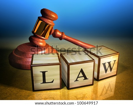 Some wooden cubes forming the word law, in front of a gavel. Digital illustration. - stock photo