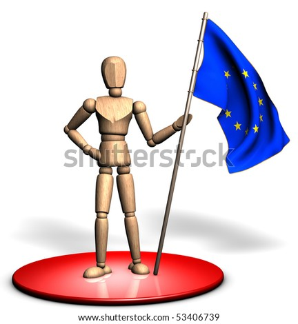 Someone is holding a big Europe flag on the red stage - stock photo