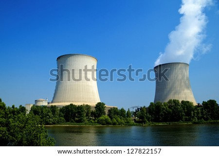 somme nuclear power plant waterfront - stock photo