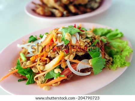 Somtum or Thai papaya salad - stock photo