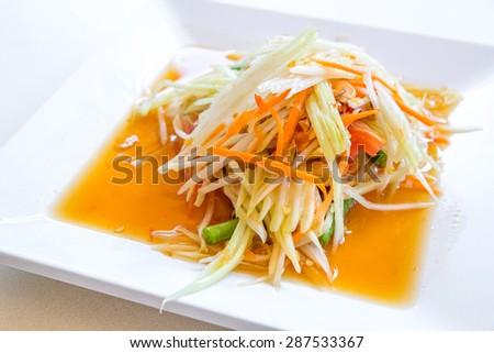 Somtum ,Thai spicy papaya salad - stock photo