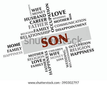 Son word cloud, Relations concept - stock photo