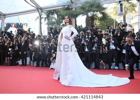 Sonam Kapoor attends the screening of 'From The Land Of The Moon (Mal De Pierres)' at the annual 69th Cannes Film Festival at Palais des Festivals on May 15, 2016 in Cannes, France. - stock photo