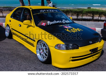 """SONGKHLA, THAILAND - March 09 : Honda Tuned car in """"Songkhla Car Club Show 2014"""" at Samila beach on March 09,2014 in Songkhla, Thailand. - stock photo"""