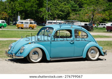 """SONGKHLA, THAILAND - May 01 : Vintage Volkswagen car Meeting in """"VW SONGKHLA AIRCOOLED GATHERING SEASON 3"""" at Samila beach on May 01,2015 in Songkhla, Thailand. - stock photo"""