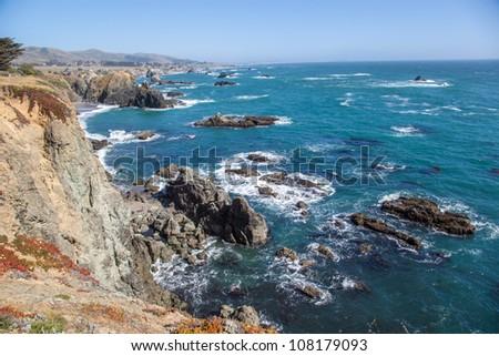Sonoma County rocky coast, California - stock photo