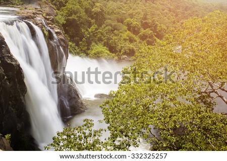Soothing Waterfall at Athirapally Kerala India - stock photo