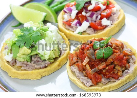 sopes, traditional mexican dish - stock photo